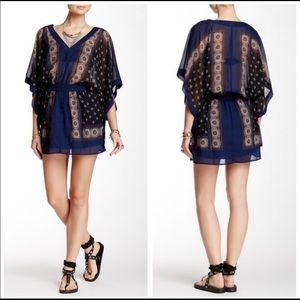 Free People Santa Cruz Kimono Dress Navy Blue Med